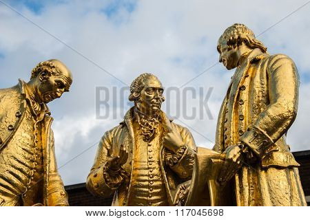 Gilded Bronze Statue Of Matthew Boulton, James Watt And William Murdoch By William Bloye And Raymond