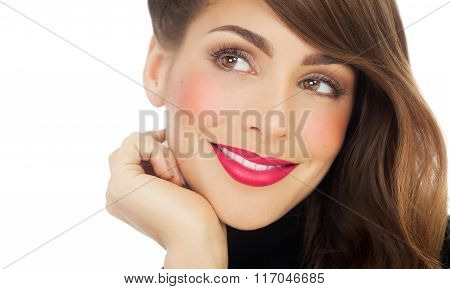 Smiling Woman With Bright Lipstick