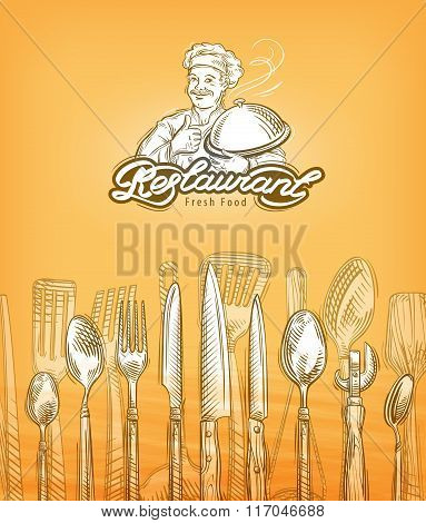 restaurant or cooking, cutlery sketch. vector illustration
