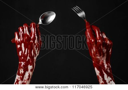 Bloody Hand Holding A Spoon, Fork, Halloween Theme, Bloody Spoon, Fork, Black Background, Isolated
