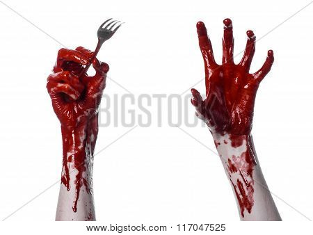 Bloody Hand Holding A Spoon, Fork, Halloween Theme, Bloody Spoon, Fork, White Background, Isolated