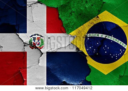 Flags Of Dominican Republic And Brazil Painted On Cracked Wall