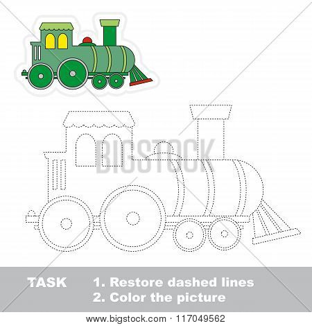 Locomotive to be traced. Vector trace game.