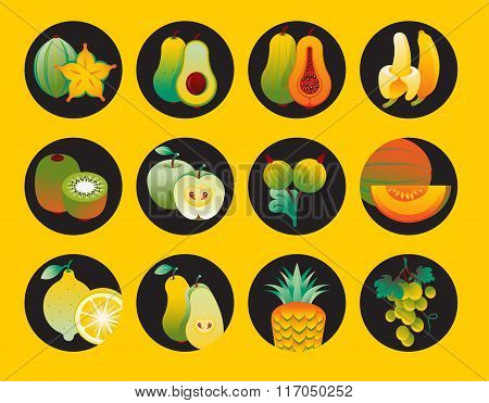 Collection Of Fruit Icons.