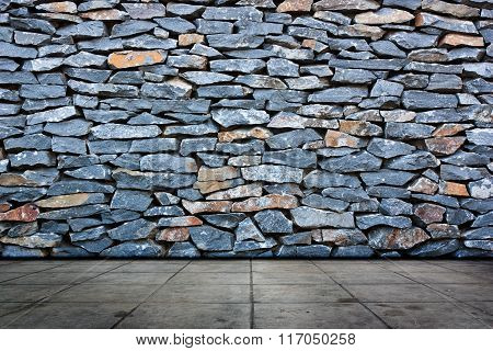 Stone Wall And Cement  Flooring.
