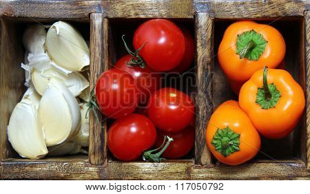 Garlic,peppers and Tomatoes