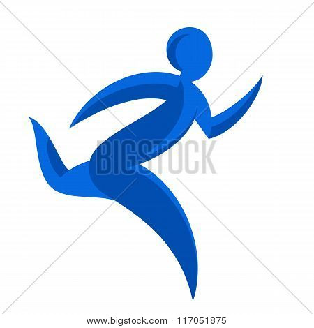 Abstract Runner Symbol. Winner Courier Logo Illustration. Movement Express Graphics