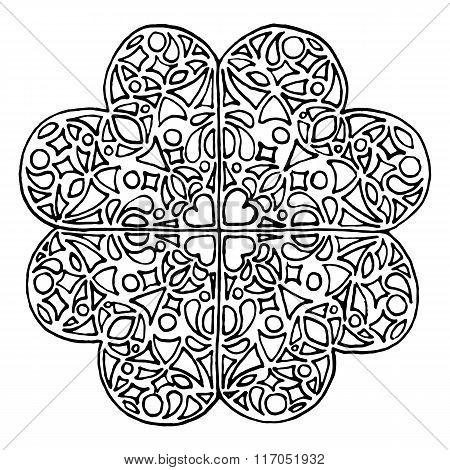 Doodle Zentangle Clover Shamrock Saint Patricks Day Vector Isolated
