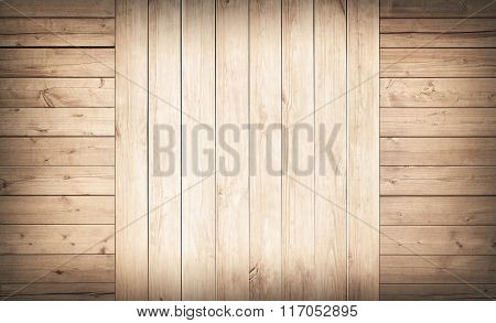 Light brown wooden wall, planks.  Floor surface