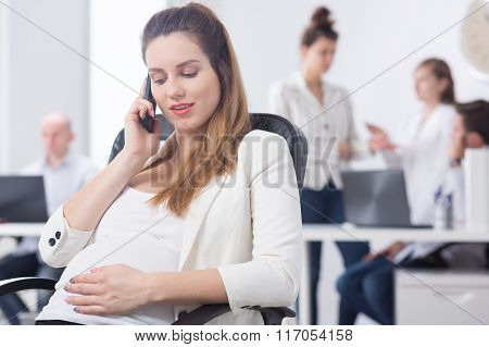 Corporate Manager Touching Pregnant Tummy