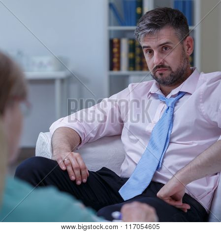 Businessman Needing Psychological Therapy