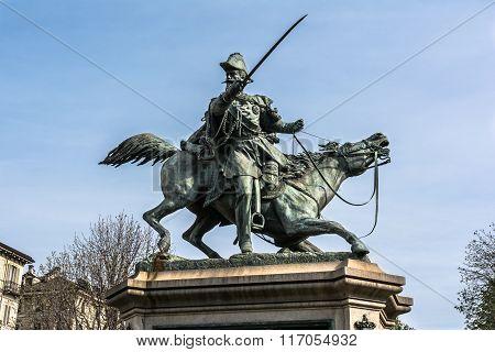 The equestrian statue of Ferdinando di Savoia in Turin, Italy