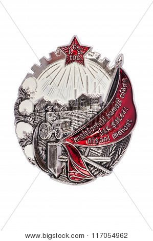 Badge Of The Order Of The Red Banner Of Labour Of The Tajik Ssr