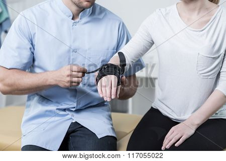 Woman Having A Wrist Stabilizer