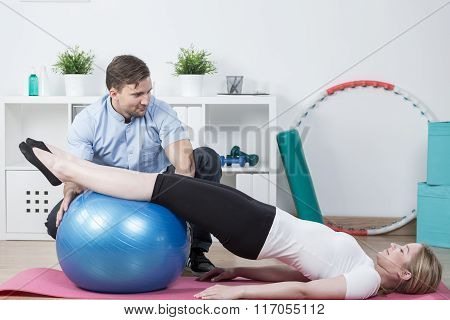 Woman Doing Physiotherapy Exercises