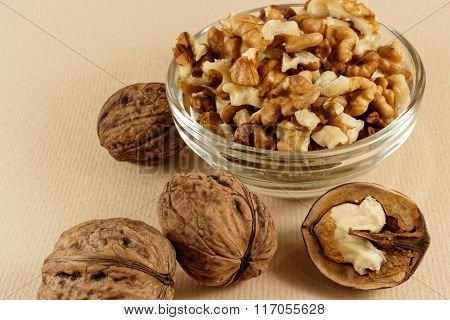 Walnuts in glass bowl