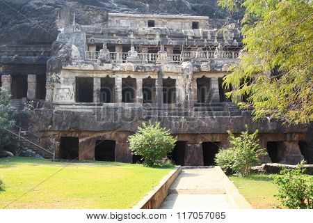 Historic Undavalli caves near Vijayawada city in India