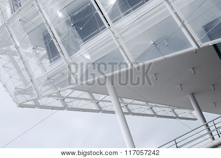 Architectural detail of a modern building in Hamburg, Germany