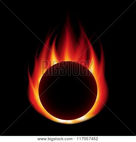 Fire Ball Isolated On Black Vector