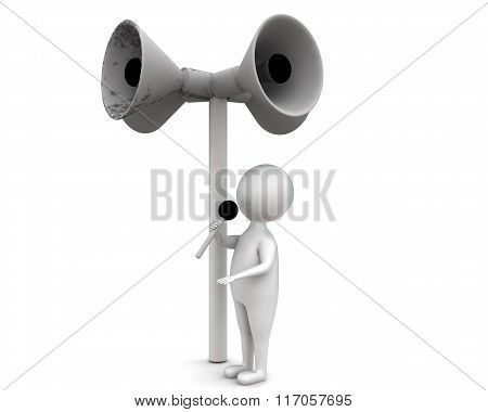 3D Man Holding Mic In Hands Ands Making Annoucment Concept