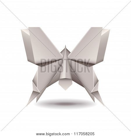 Origami Butterfly Isolated On White Vector