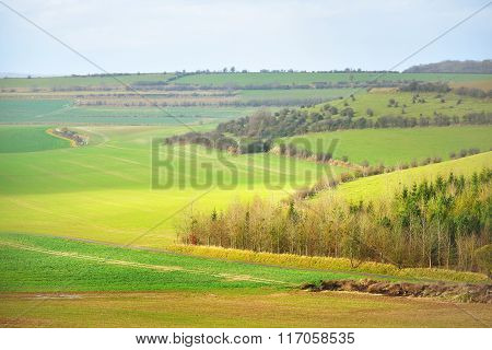 Fields On The Hills Of Picardie, France