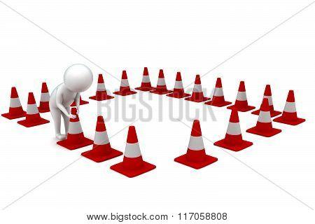 3D Man Arranging Traffic Cones Concept