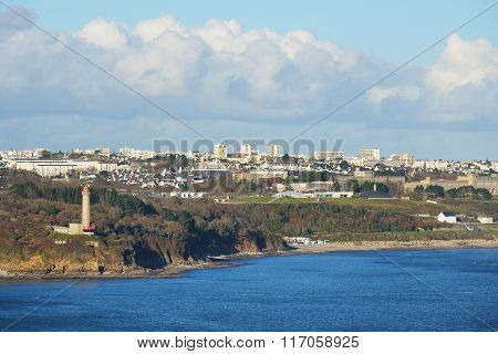 Brest city and its harbor in France