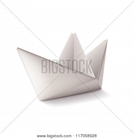 Origami Ship Isolated On White Vector