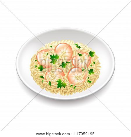 Risotto Isolated On White Vector
