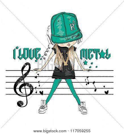fashion girl music headphone 2