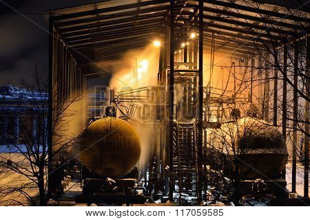 Steaming Railway Gas Tanks In A Shed On A Frosty Winter Night