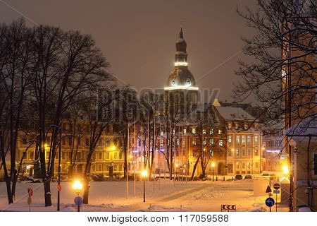View Of Riga Cathedral From The President Square On A Snowy Winter Night
