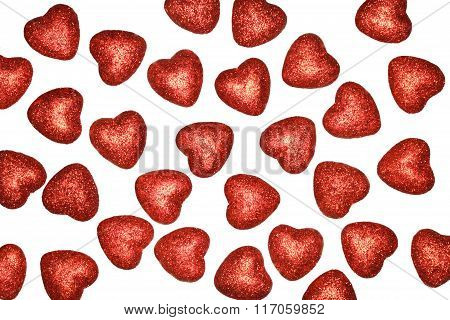 Background Of Hearts On White