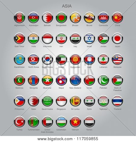 Set of round glossy flags of all sovereign countries of Asia with captions in alphabet order.  Vector illustration