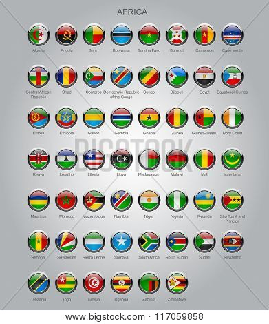 Set of round glossy flags of all sovereign countries of Africa with captions in alphabet order.  Vector illustration