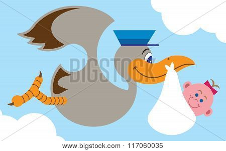 Flat Vector Stork With Baby