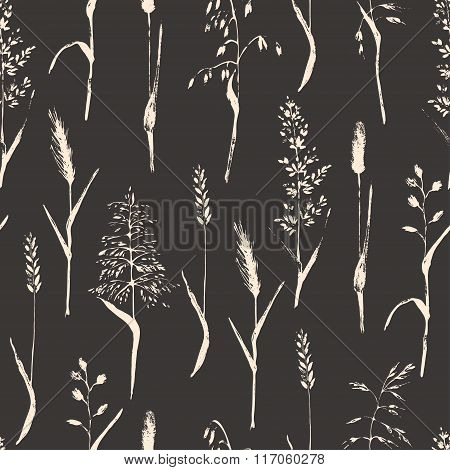 Vector Meadow Grass Silhouettes Seamless Pattern