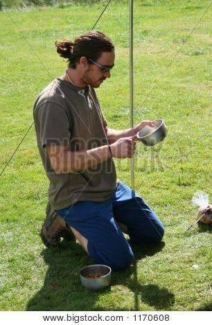 Young Man Camping