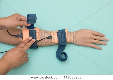 Physical Theraist Apply Electrode On Patient Forearm, Physical Therapy Rehabilitation