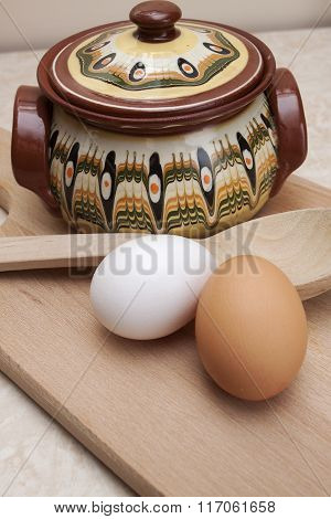 Bulgarian Traditional Crock With Wooden Spoon