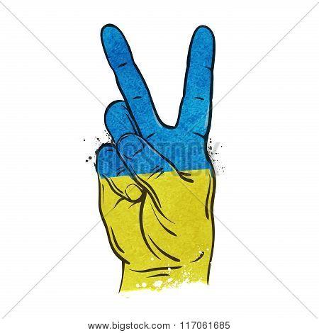 hand gesture of victory. flag Ukraine, Kiev. vector illustration