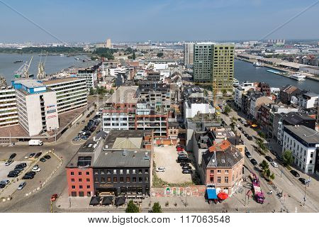 Aerial View Of Antwerp Port Area From Roof Terrace Museum Mas, Belgium