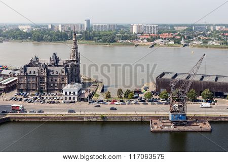 Aerial View Of Antwerp Port Area With River Schelde In Harborantwerp, Belgium