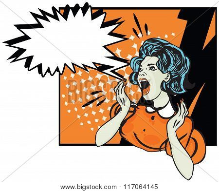 Desperate Woman - Retro Clip Art  Illustration