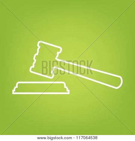 Justice hammer line icon