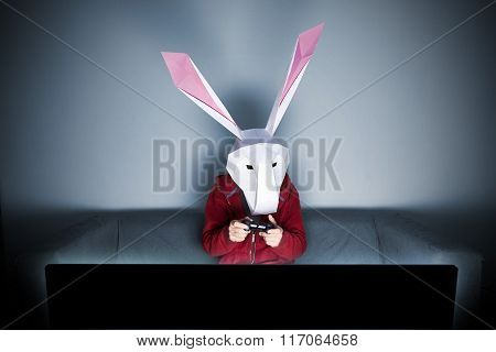 Rabbit Gamer On The Sofa