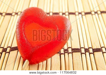 Valentine Day Concept - Heart Shaped Lolly Pop On Wood Background, Copy Space