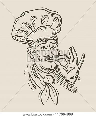 chef sketch. vector illustration