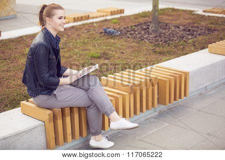 Joyful Woman With Digital Tablet